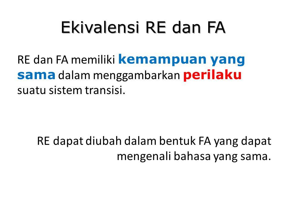Ekivalensi RE dan FA RE dan FA memiliki kemampuan yang sama dalam menggambarkan perilaku suatu sistem transisi.