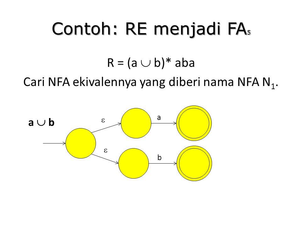 R = (a  b)* aba Cari NFA ekivalennya yang diberi nama NFA N1.