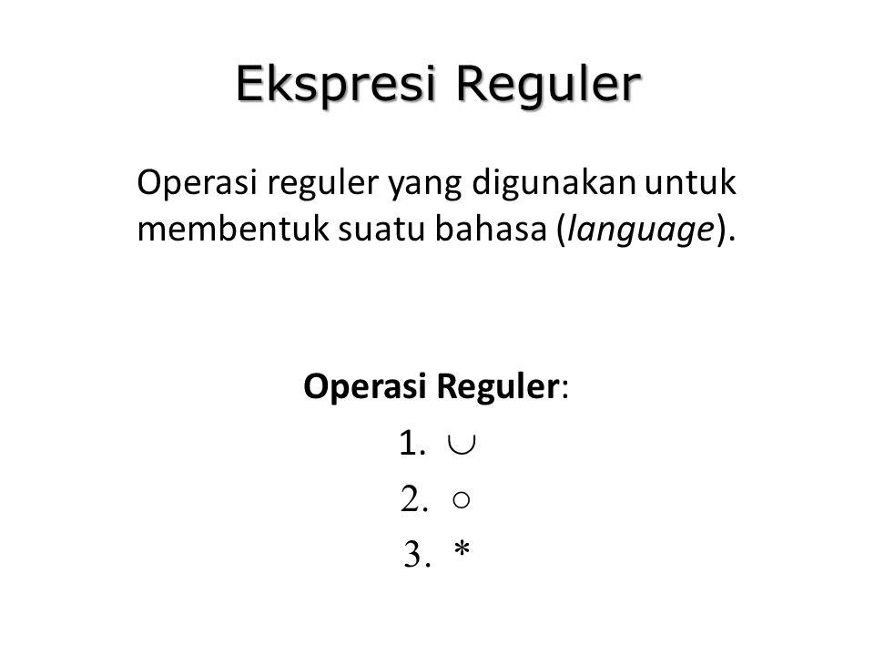 Ekspresi Reguler Operasi reguler yang digunakan untuk membentuk suatu bahasa (language). Operasi Reguler: