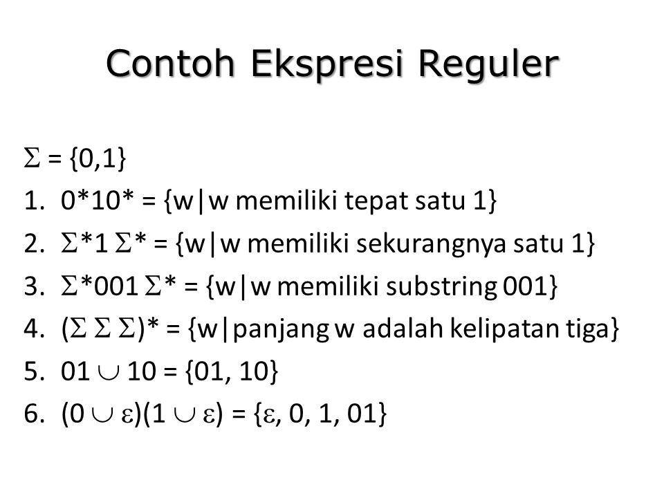 Contoh Ekspresi Reguler