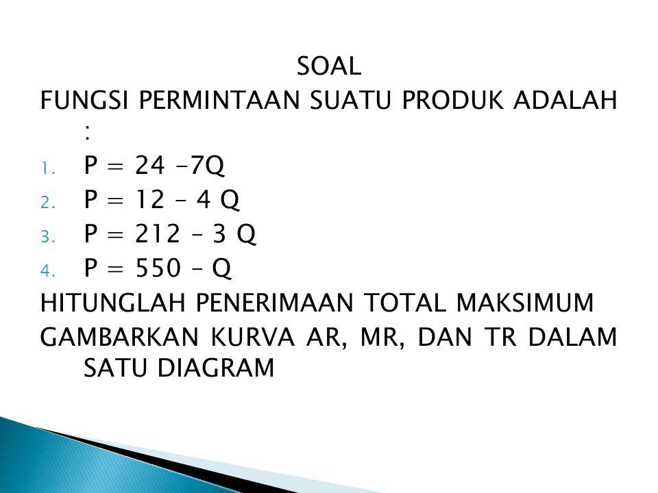 SOAL FUNGSI PERMINTAAN SUATU PRODUK ADALAH : P = 24 -7Q. P = 12 – 4 Q. P = 212 – 3 Q. P = 550 – Q.