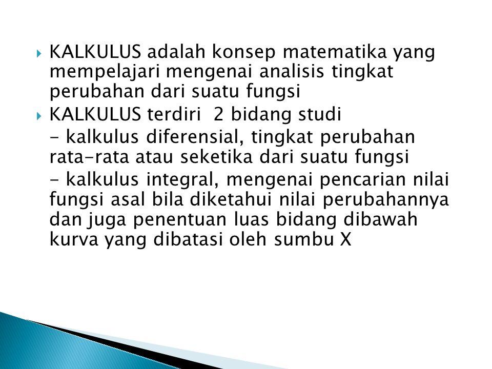 KALKULUS adalah konsep matematika yang mempelajari mengenai analisis tingkat perubahan dari suatu fungsi