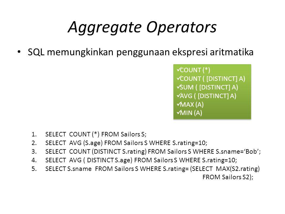 Aggregate Operators SQL memungkinkan penggunaan ekspresi aritmatika