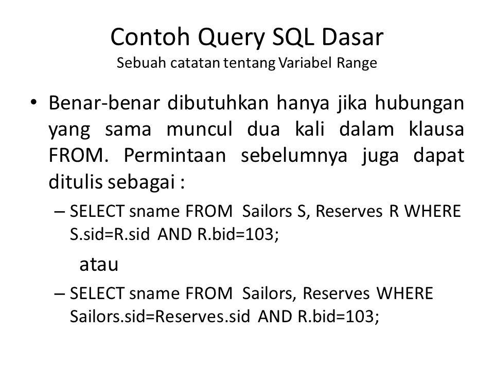 Contoh Query SQL Dasar Sebuah catatan tentang Variabel Range