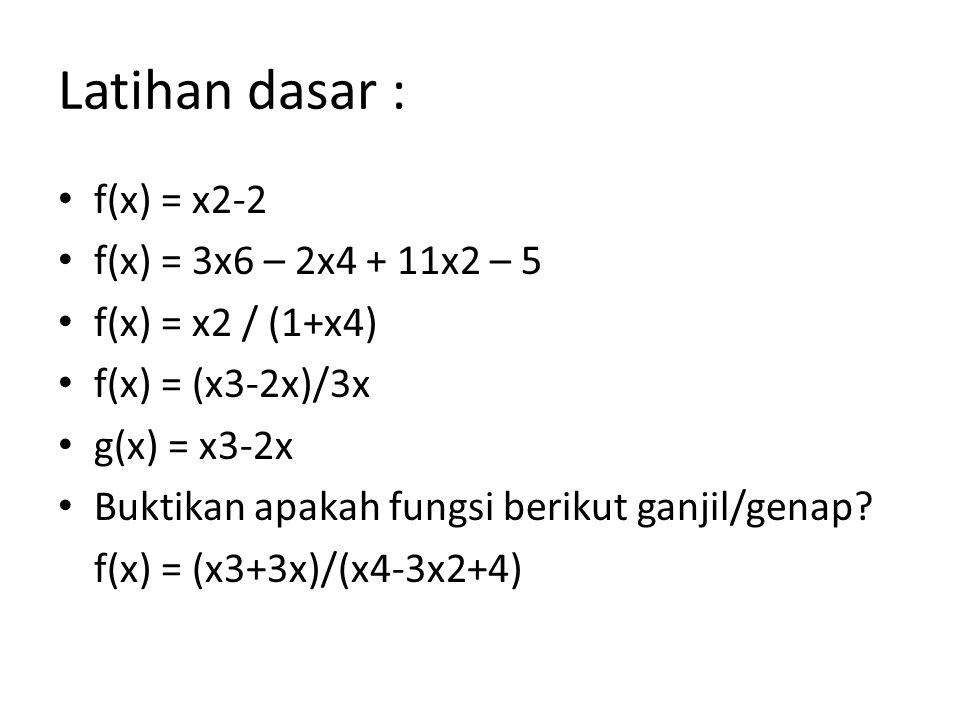 Latihan dasar : f(x) = x2-2 f(x) = 3x6 – 2x4 + 11x2 – 5