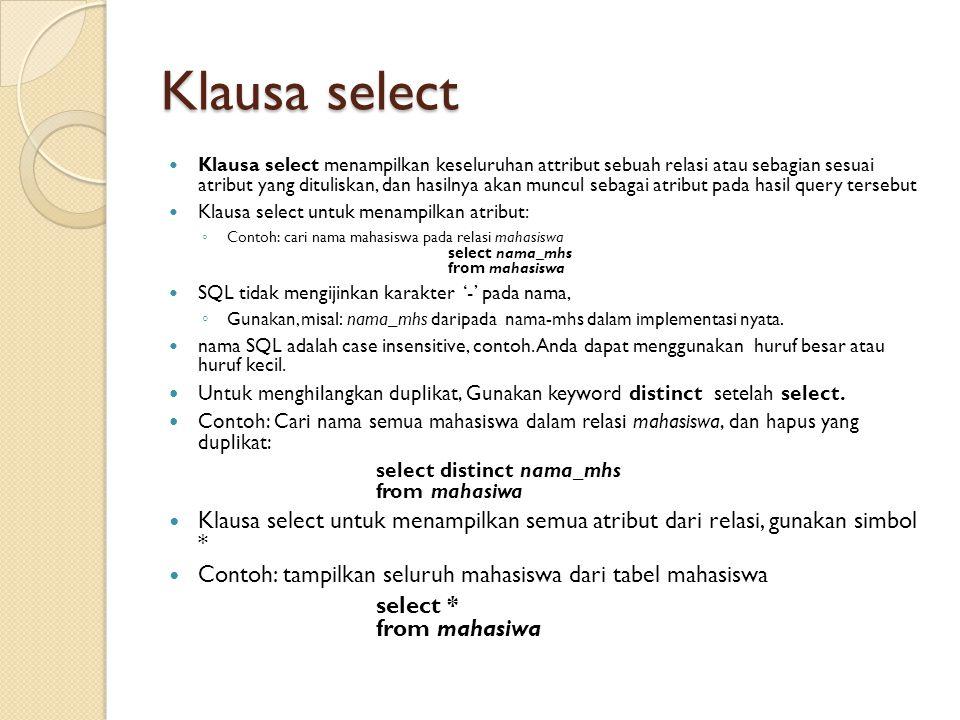 Klausa select