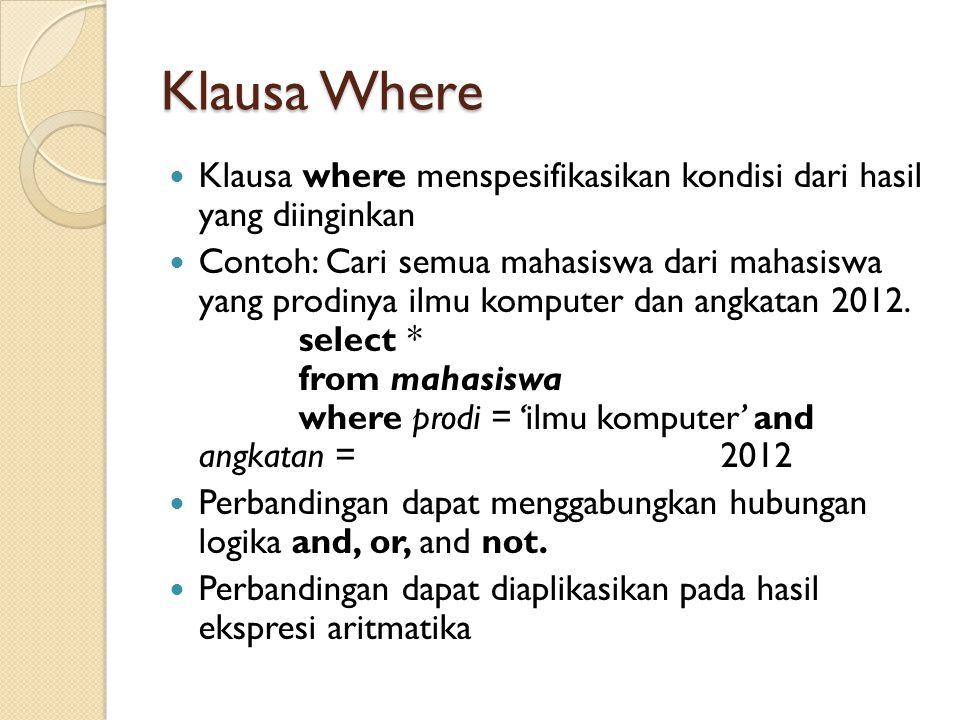 Klausa Where Klausa where menspesifikasikan kondisi dari hasil yang diinginkan.