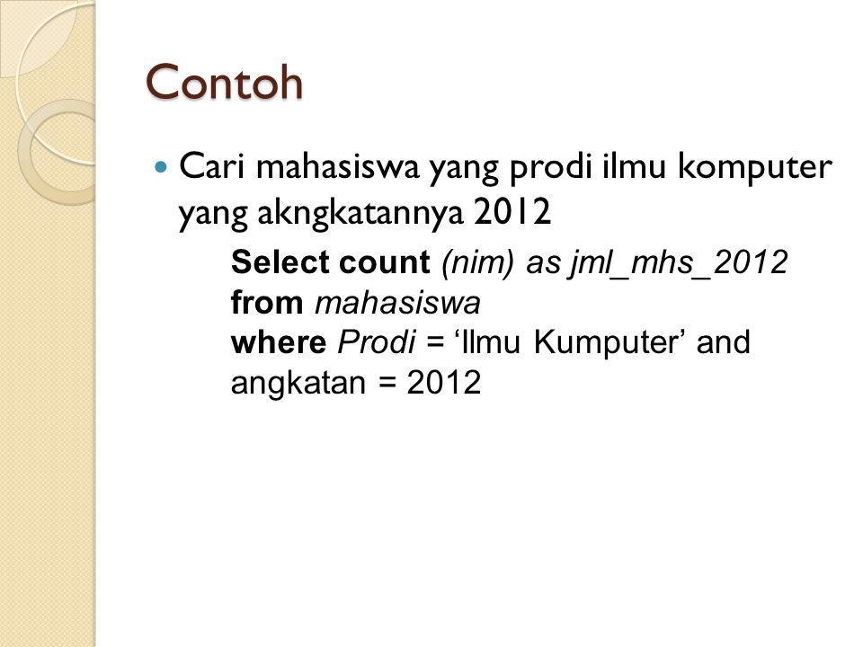 Contoh Cari mahasiswa yang prodi ilmu komputer yang akngkatannya 2012