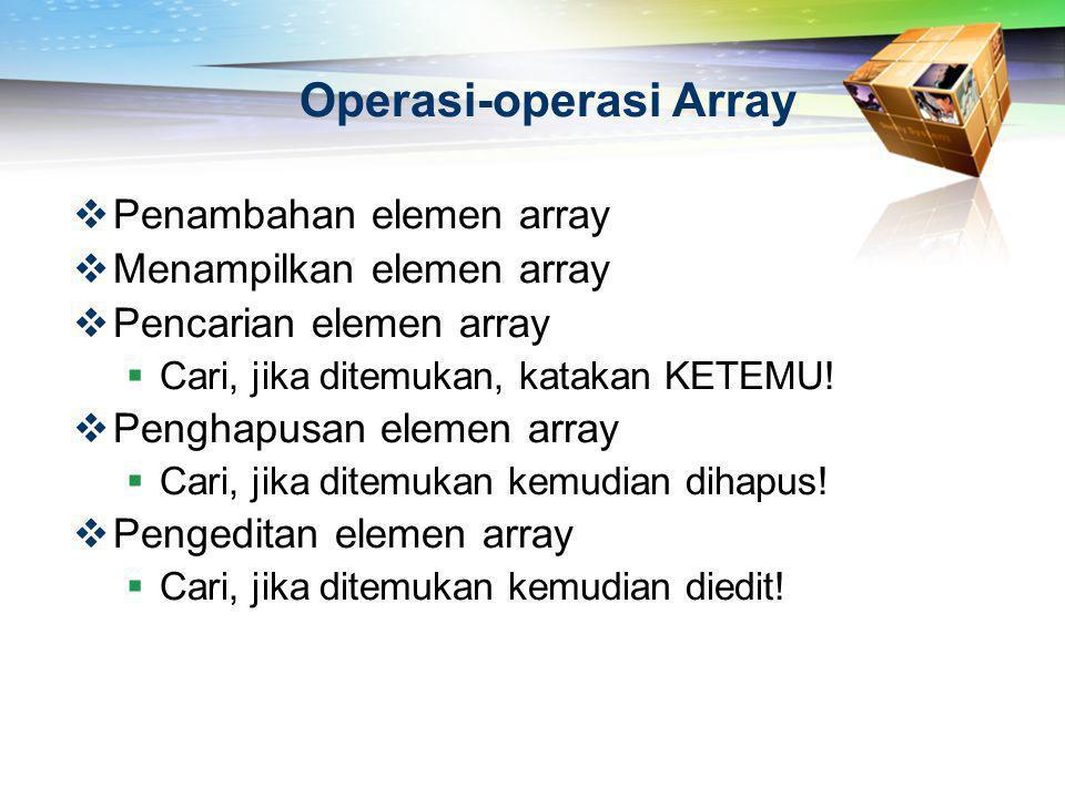 Operasi-operasi Array