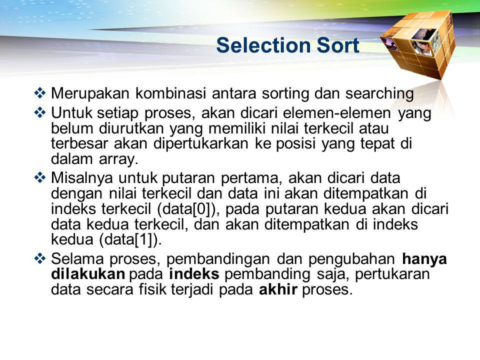 Selection Sort Merupakan kombinasi antara sorting dan searching