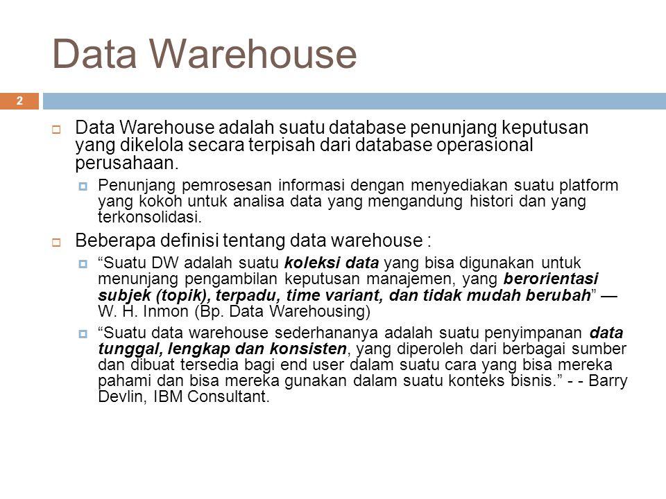 Data Warehouse Data Warehouse adalah suatu database penunjang keputusan yang dikelola secara terpisah dari database operasional perusahaan.