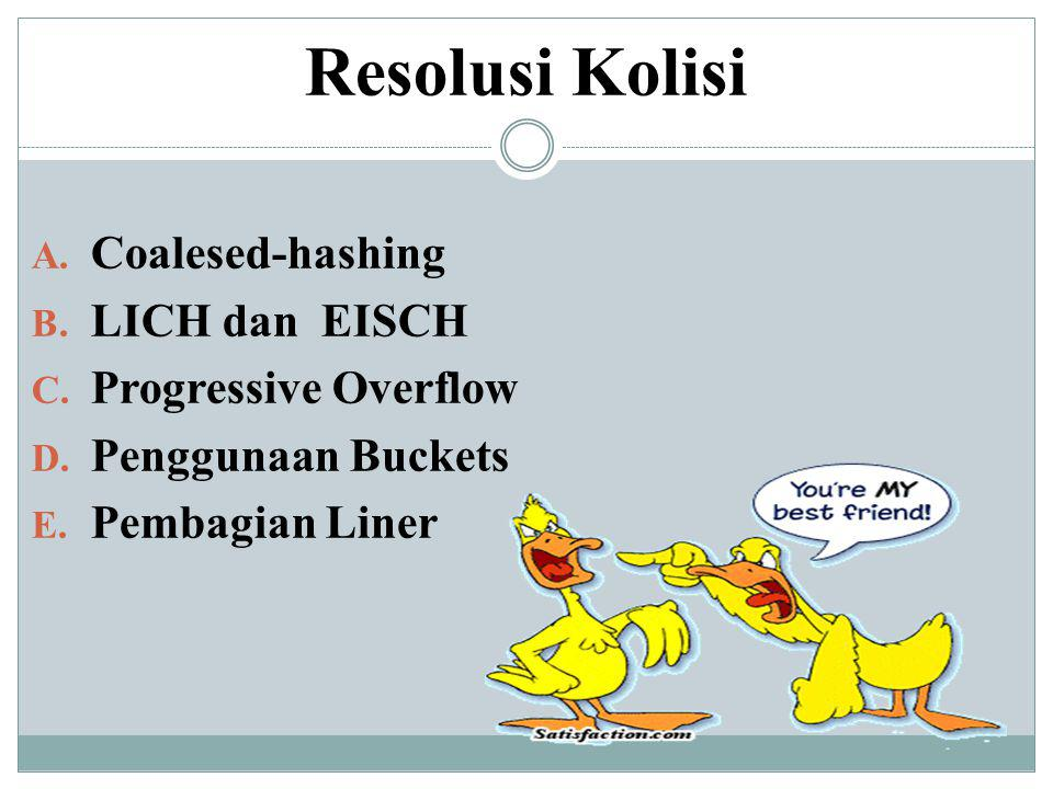 Resolusi Kolisi Coalesed-hashing LICH dan EISCH Progressive Overflow