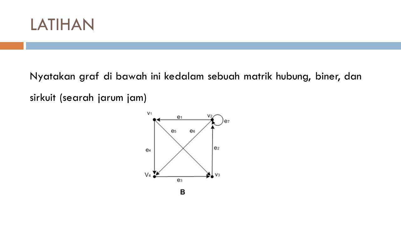 LATIHAN Nyatakan graf di bawah ini kedalam sebuah matrik hubung, biner, dan sirkuit (searah jarum jam)