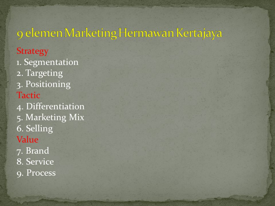 9 elemen Marketing Hermawan Kertajaya