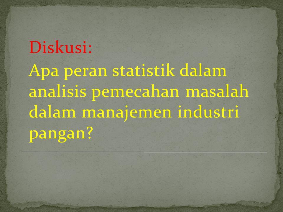 Diskusi: Apa peran statistik dalam analisis pemecahan masalah dalam manajemen industri pangan