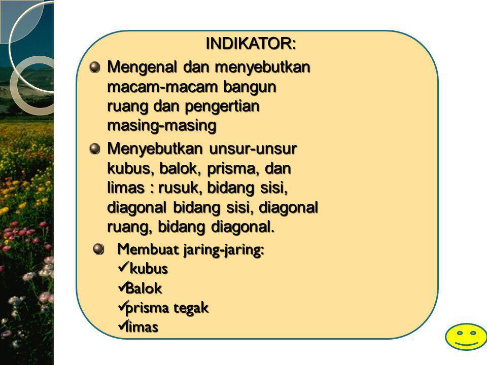 INDIKATOR: Mengenal dan menyebutkan macam-macam bangun ruang dan pengertian masing-masing.