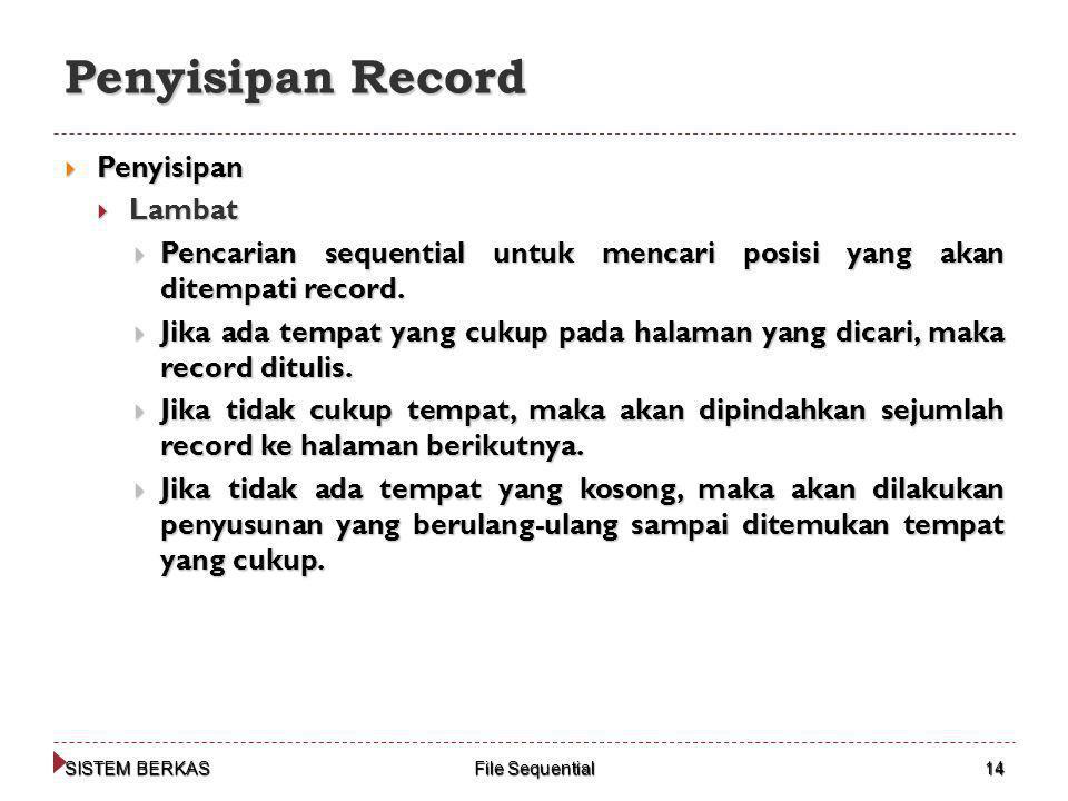 Penyisipan Record Penyisipan Lambat