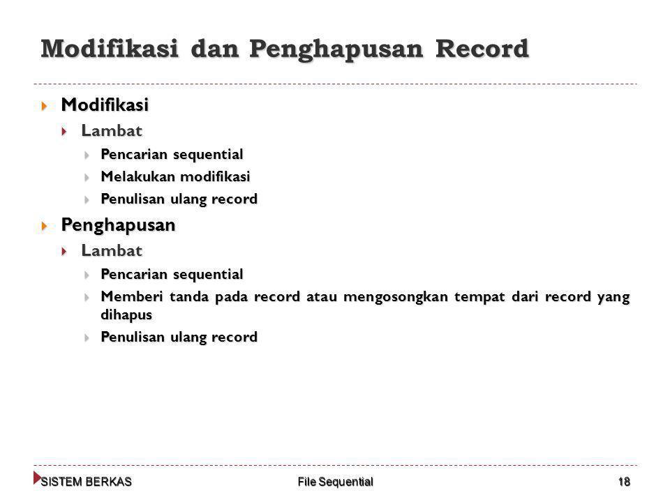Modifikasi dan Penghapusan Record