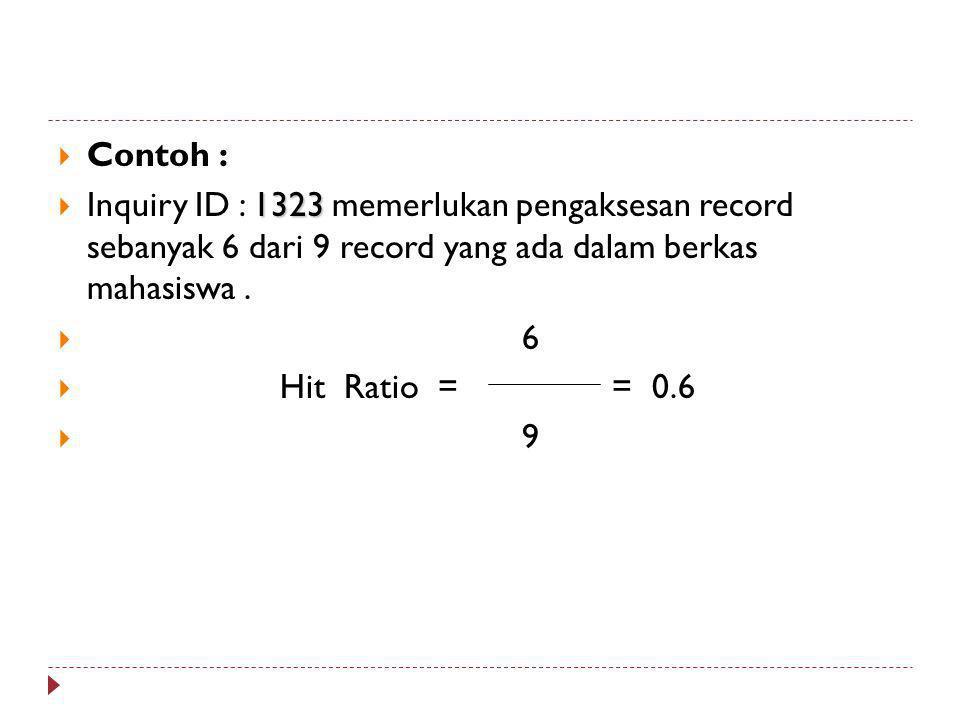 Contoh : Inquiry ID : 1323 memerlukan pengaksesan record sebanyak 6 dari 9 record yang ada dalam berkas mahasiswa .