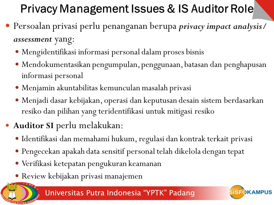 Privacy Management Issues & IS Auditor Role
