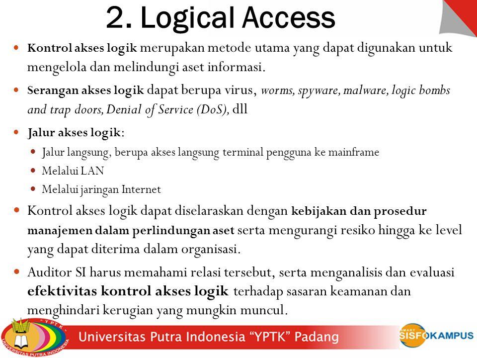 2. Logical Access Kontrol akses logik merupakan metode utama yang dapat digunakan untuk mengelola dan melindungi aset informasi.