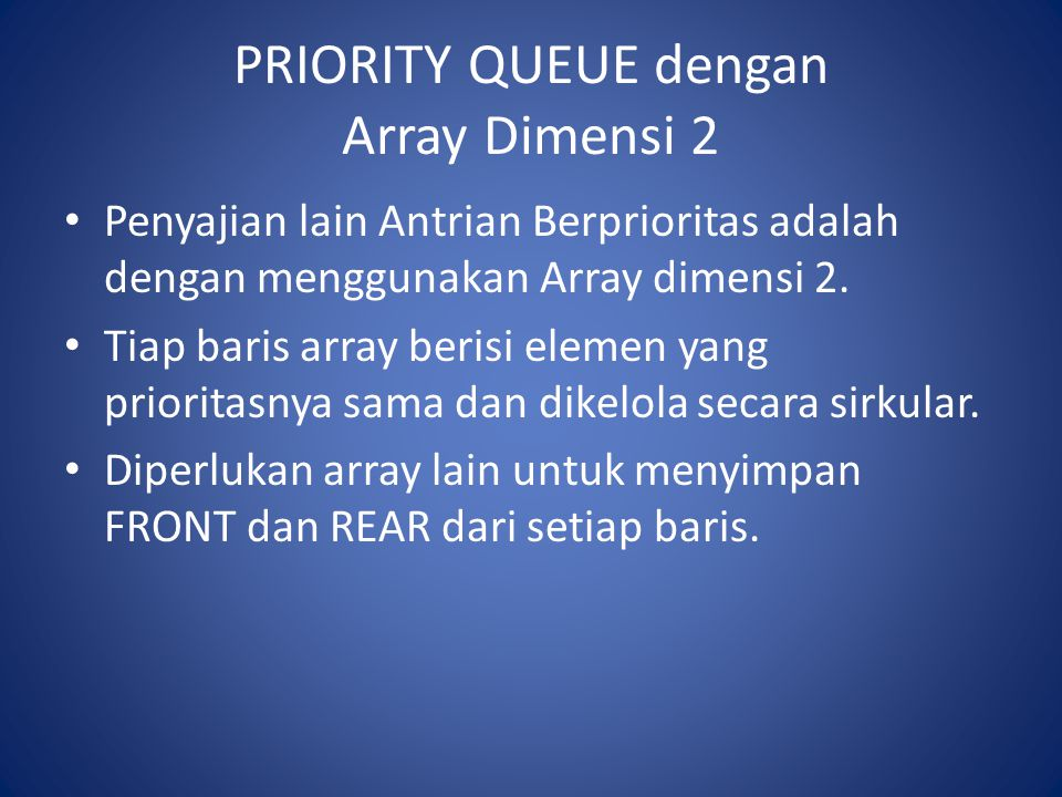 PRIORITY QUEUE dengan Array Dimensi 2