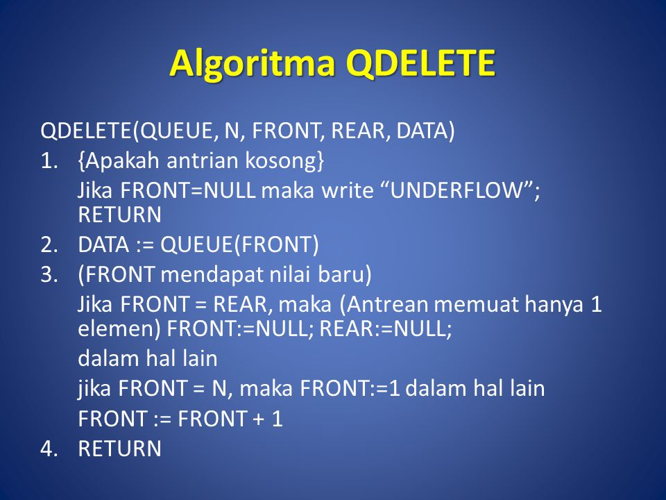 Algoritma QDELETE QDELETE(QUEUE, N, FRONT, REAR, DATA)