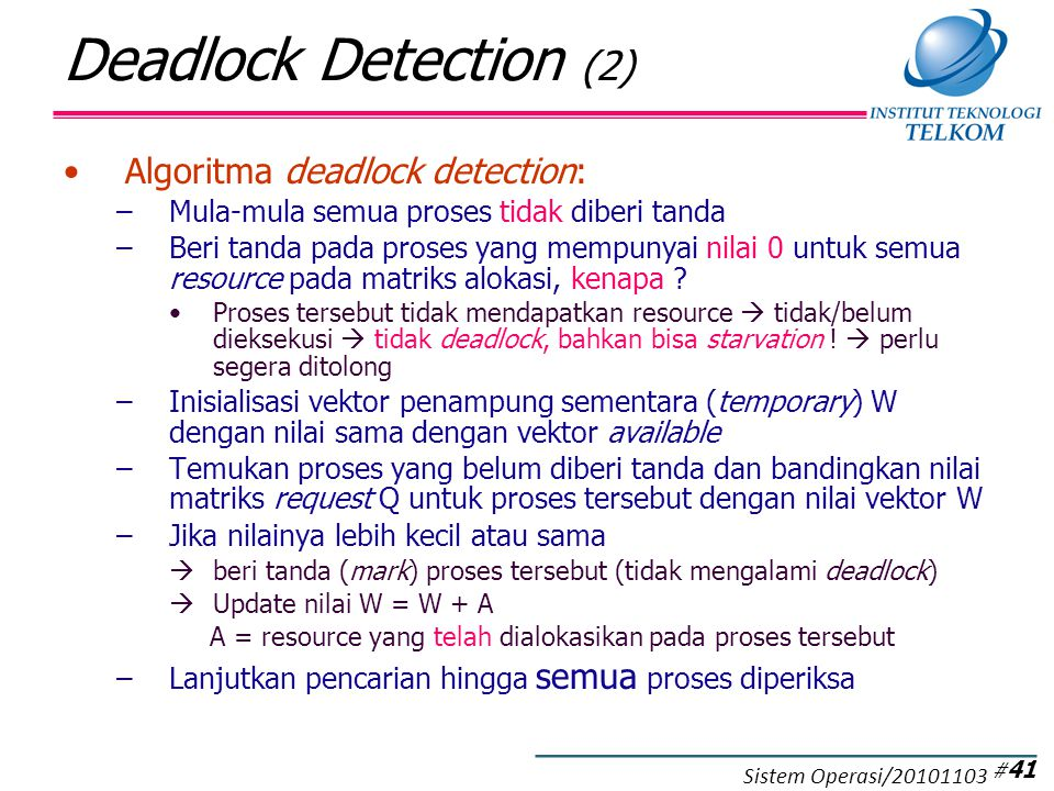 Contoh Deadlock Detection