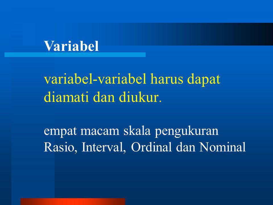 variabel-variabel harus dapat diamati dan diukur.