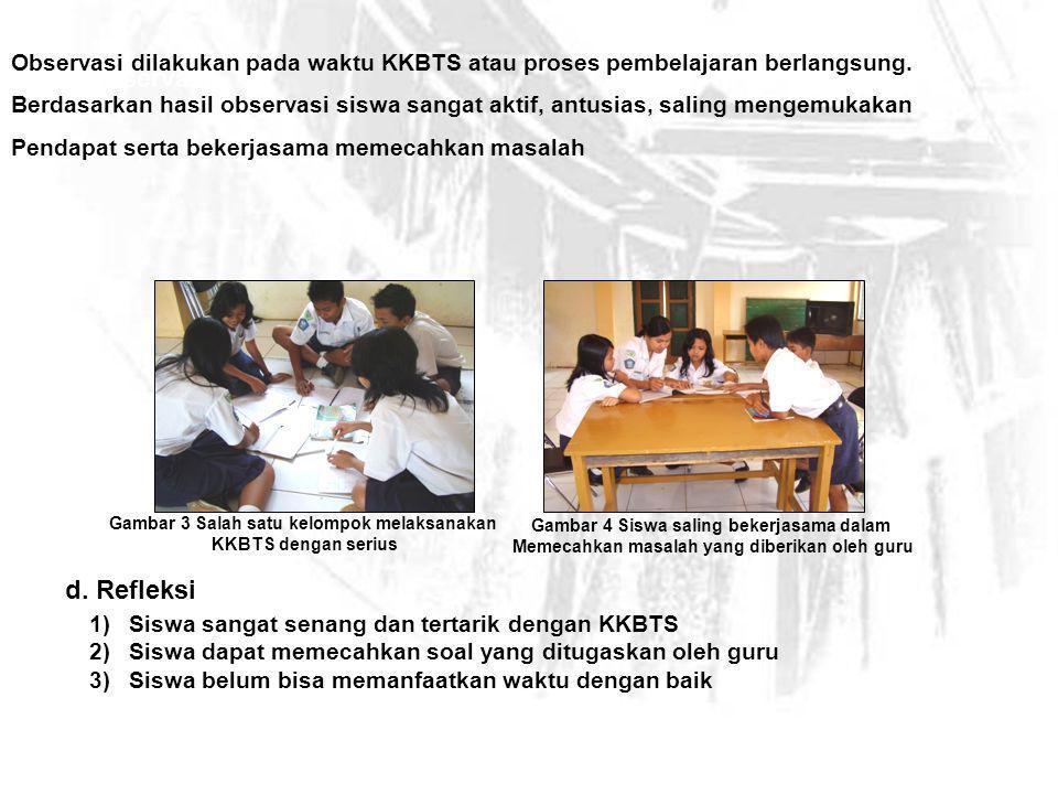 Observasi dilakukan pada waktu KKBTS atau proses pembelajaran berlangsung.
