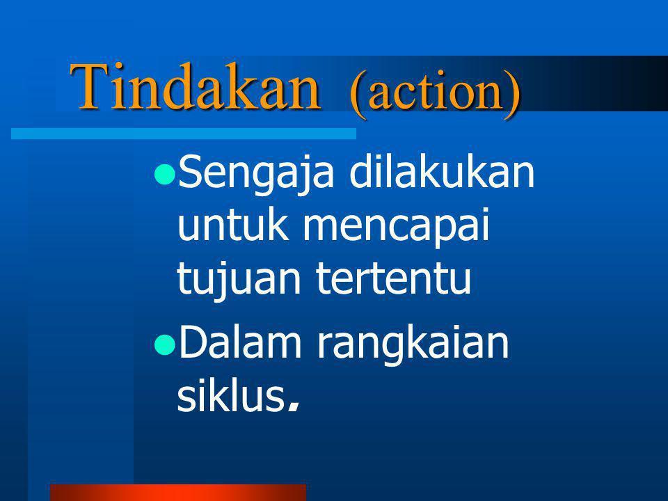 Tindakan (action) Sengaja dilakukan untuk mencapai tujuan tertentu
