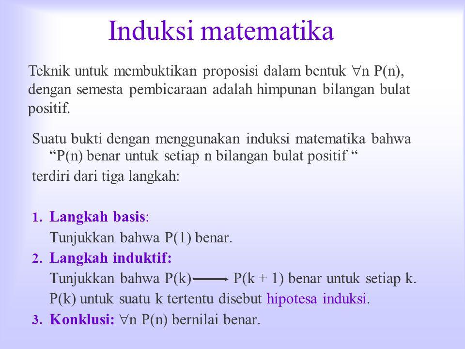 Induksi matematika Teknik untuk membuktikan proposisi dalam bentuk n P(n), dengan semesta pembicaraan adalah himpunan bilangan bulat positif.