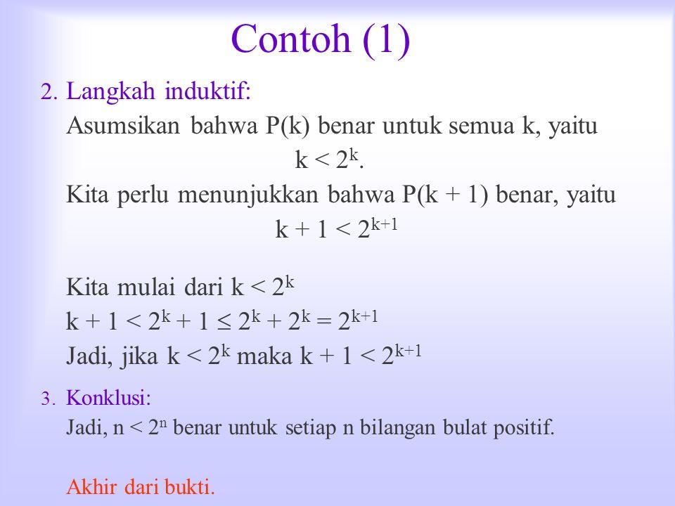 Contoh (1) Langkah induktif: