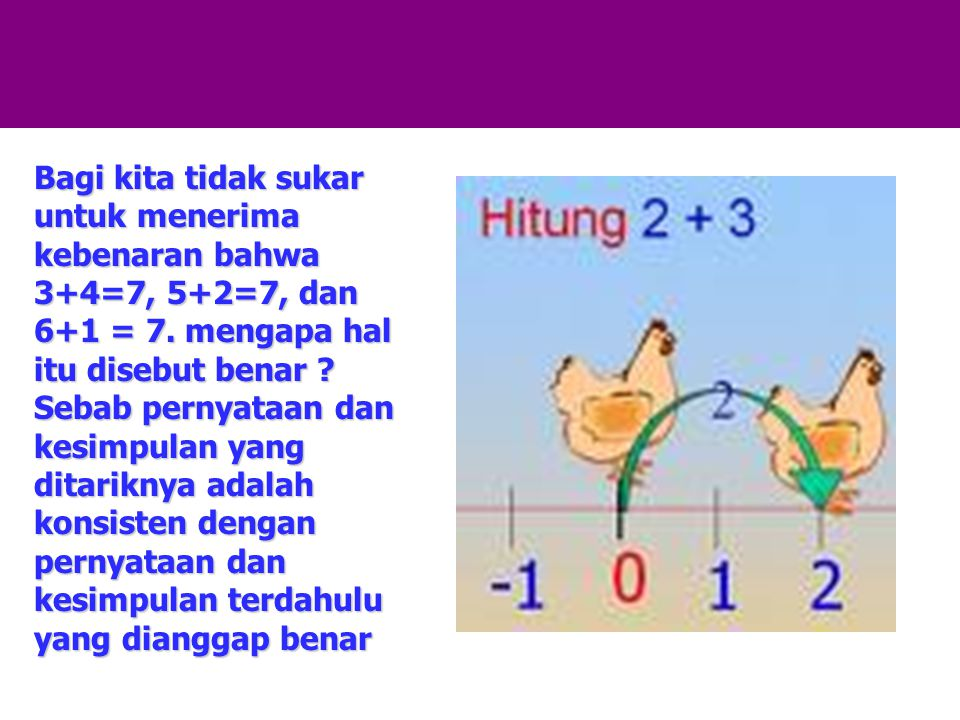 Bagi kita tidak sukar untuk menerima kebenaran bahwa 3+4=7, 5+2=7, dan 6+1 = 7.