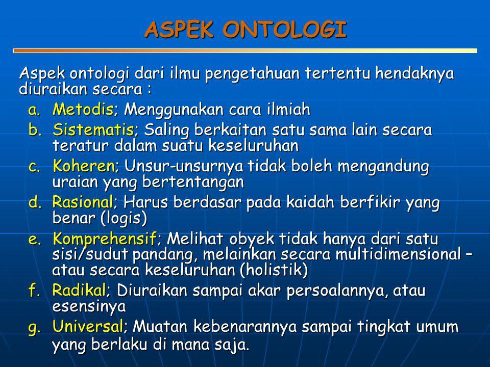 ASPEK ONTOLOGI Aspek ontologi dari ilmu pengetahuan tertentu hendaknya diuraikan secara : Metodis; Menggunakan cara ilmiah.