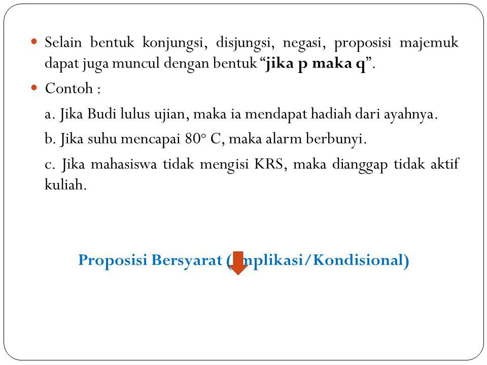 Proposisi Bersyarat (Implikasi/Kondisional)