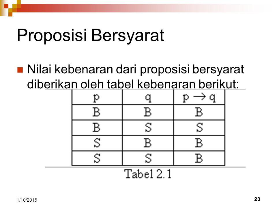 Proposisi Bersyarat Nilai kebenaran dari proposisi bersyarat diberikan oleh tabel kebenaran berikut: