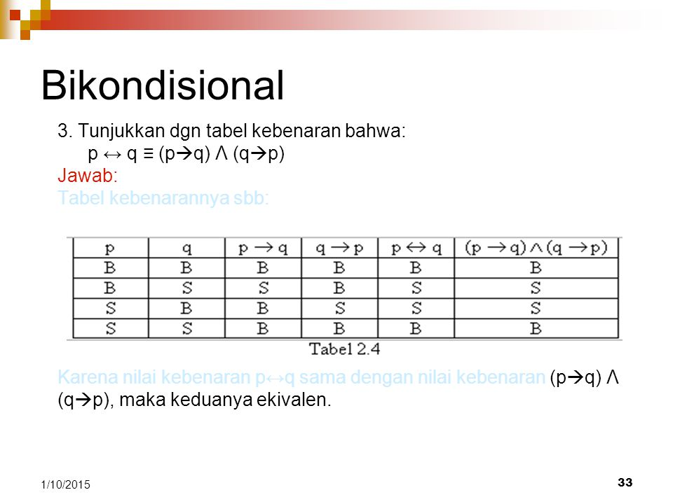 Bikondisional 3. Tunjukkan dgn tabel kebenaran bahwa: