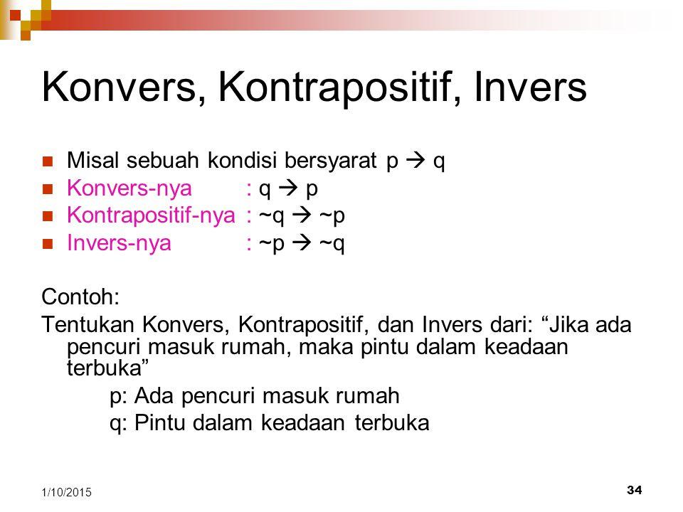 Konvers, Kontrapositif, Invers