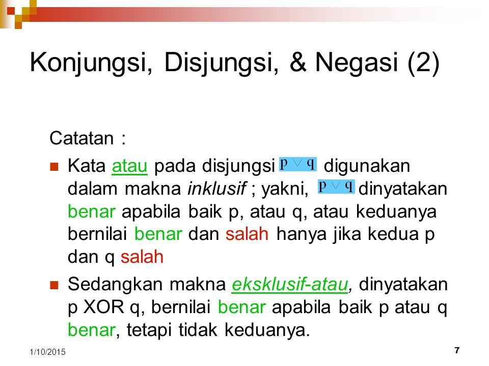 Konjungsi, Disjungsi, & Negasi (2)