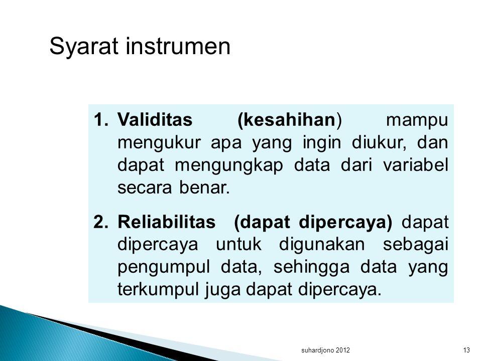 Syarat instrumen Validitas (kesahihan) mampu mengukur apa yang ingin diukur, dan dapat mengungkap data dari variabel secara benar.