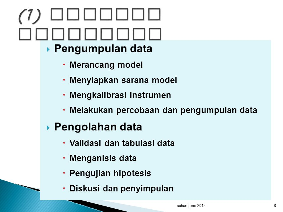 (1) menguji hipotesis Pengumpulan data Pengolahan data Merancang model