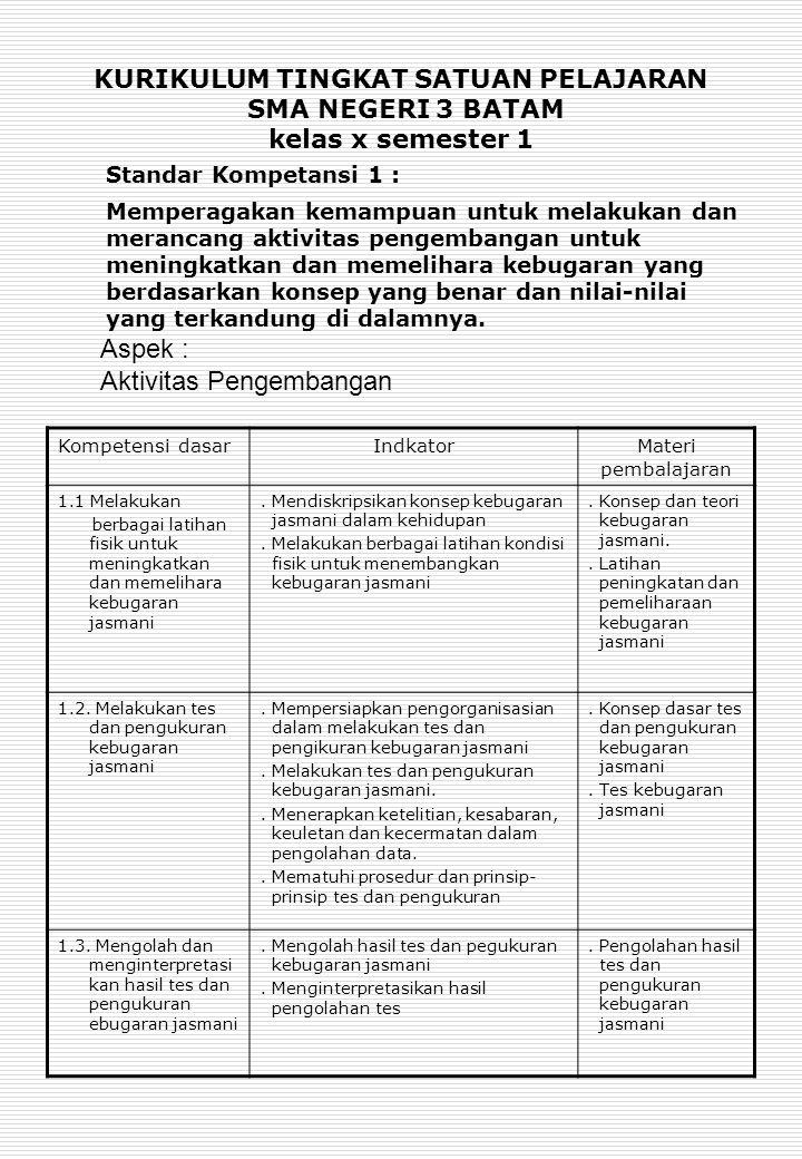 Standar Kompetansi 1 : Aspek : Aktivitas Pengembangan
