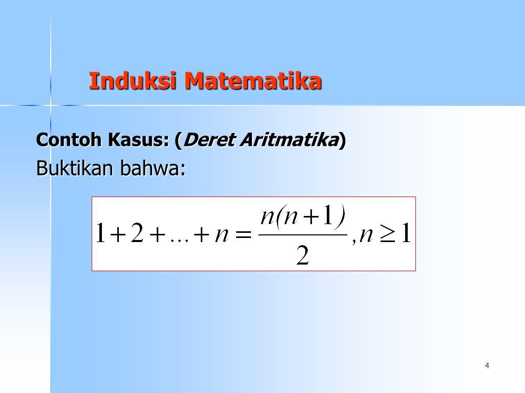 Induksi Matematika Contoh Kasus: (Deret Aritmatika) Buktikan bahwa: