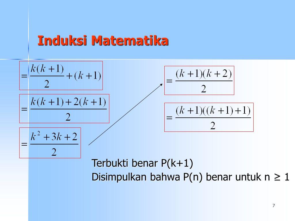Induksi Matematika Terbukti benar P(k+1)