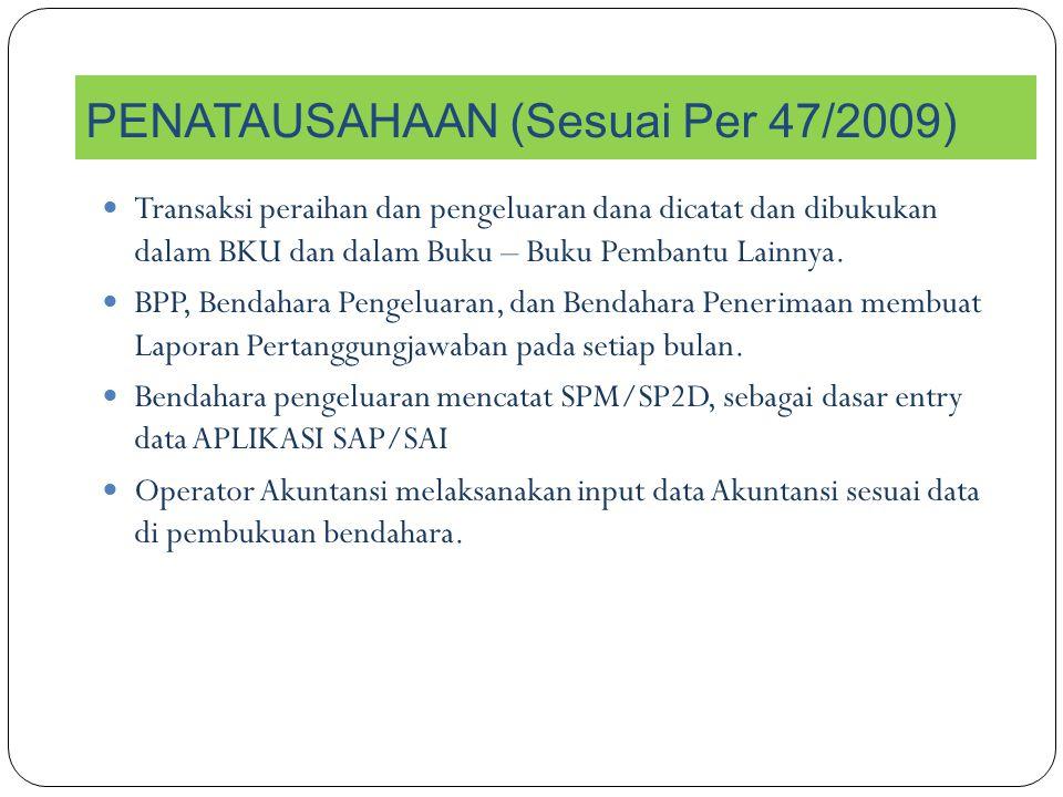 PENATAUSAHAAN (Sesuai Per 47/2009)