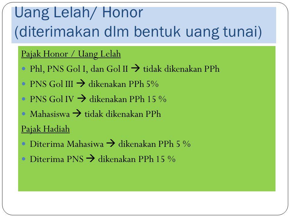 Uang Lelah/ Honor (diterimakan dlm bentuk uang tunai)