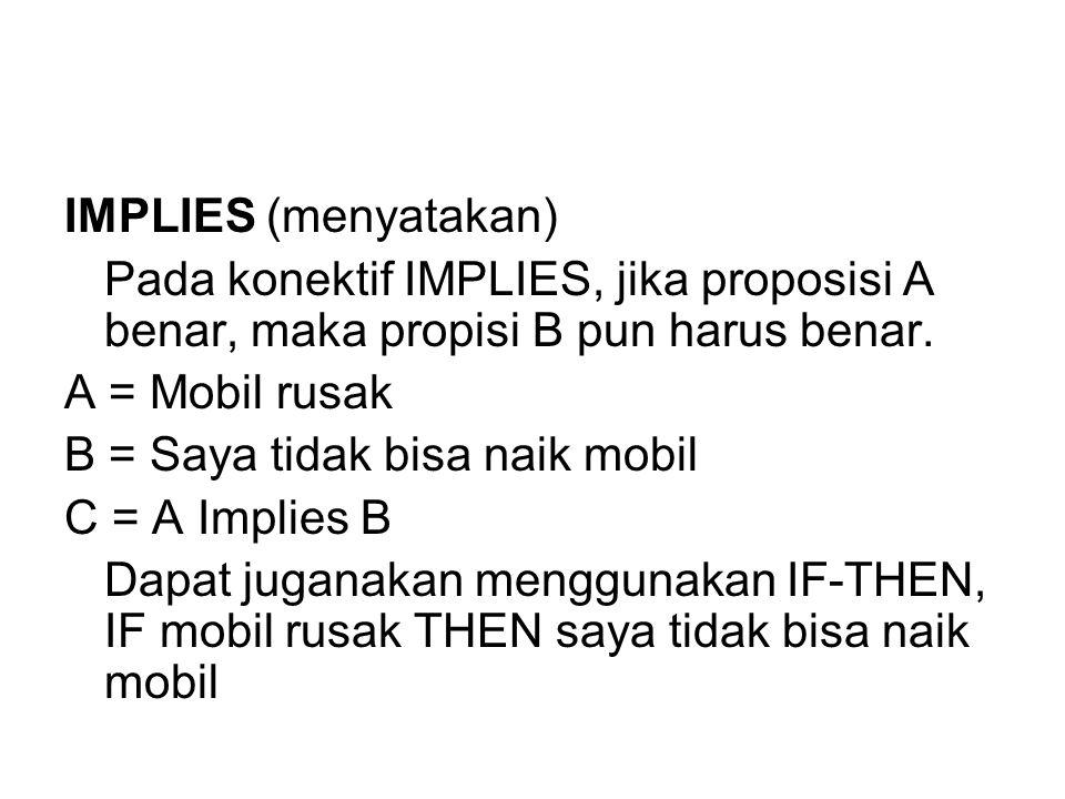 IMPLIES (menyatakan) Pada konektif IMPLIES, jika proposisi A benar, maka propisi B pun harus benar.