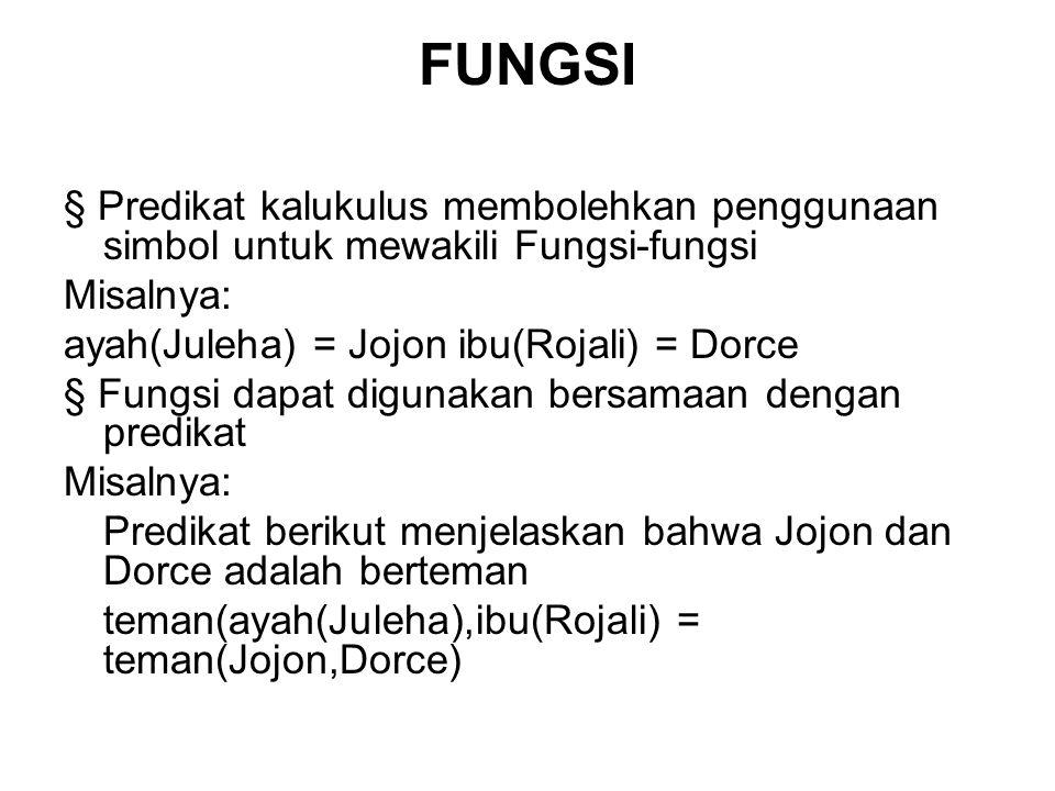 FUNGSI § Predikat kalukulus membolehkan penggunaan simbol untuk mewakili Fungsi-fungsi. Misalnya: ayah(Juleha) = Jojon ibu(Rojali) = Dorce.