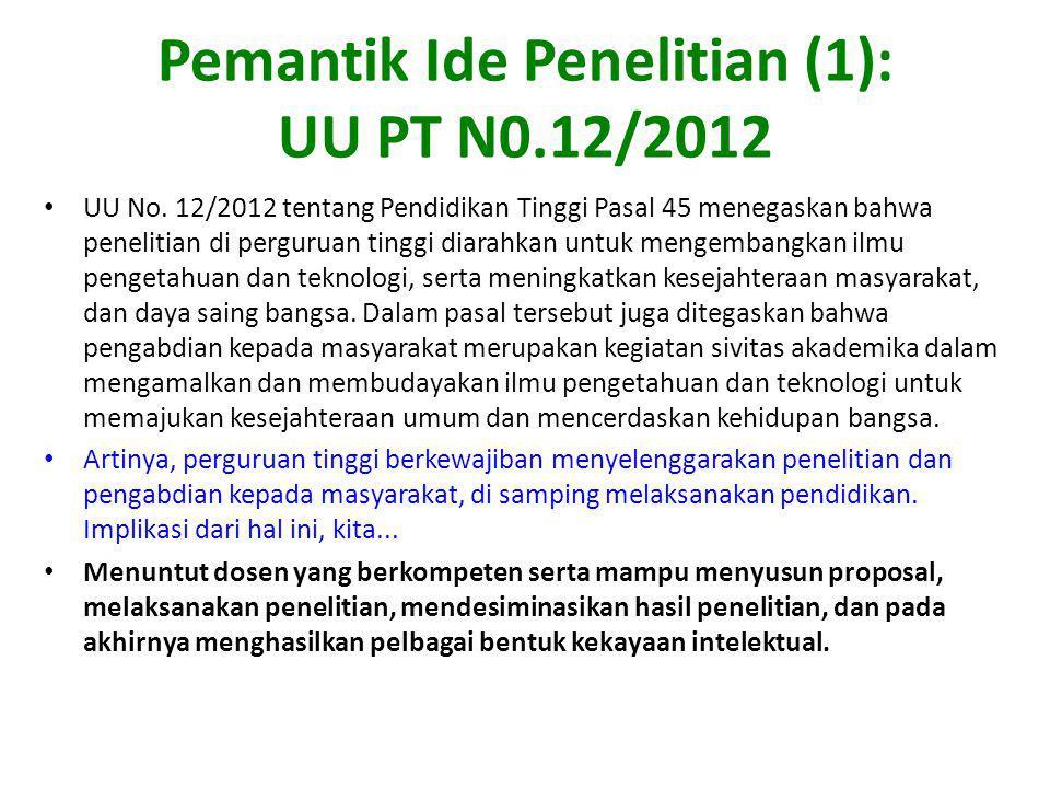 Pemantik Ide Penelitian (1): UU PT N0.12/2012